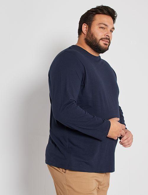 Camiseta lisa de algodón puro                                                                             AZUL