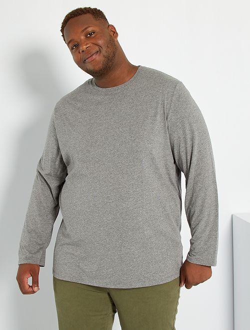 Camiseta lisa de algodón puro                                                                             GRIS