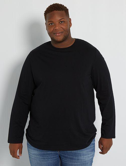 Camiseta lisa de algodón puro                                                                             NEGRO