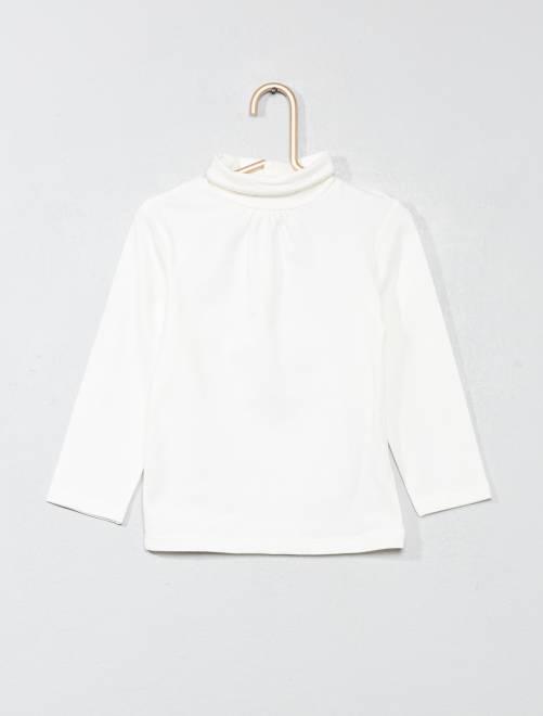 Camiseta lisa de cuello alto                     blanco nieve Bebé niña