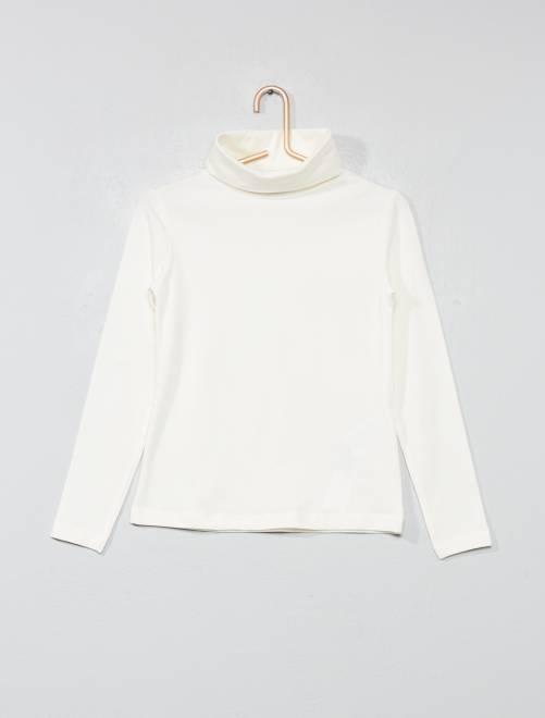 Camiseta lisa de cuello alto                                         crudo Chica