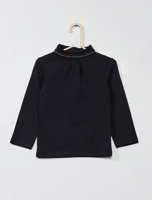 Camiseta lisa de cuello alto                                 negro Bebé niña