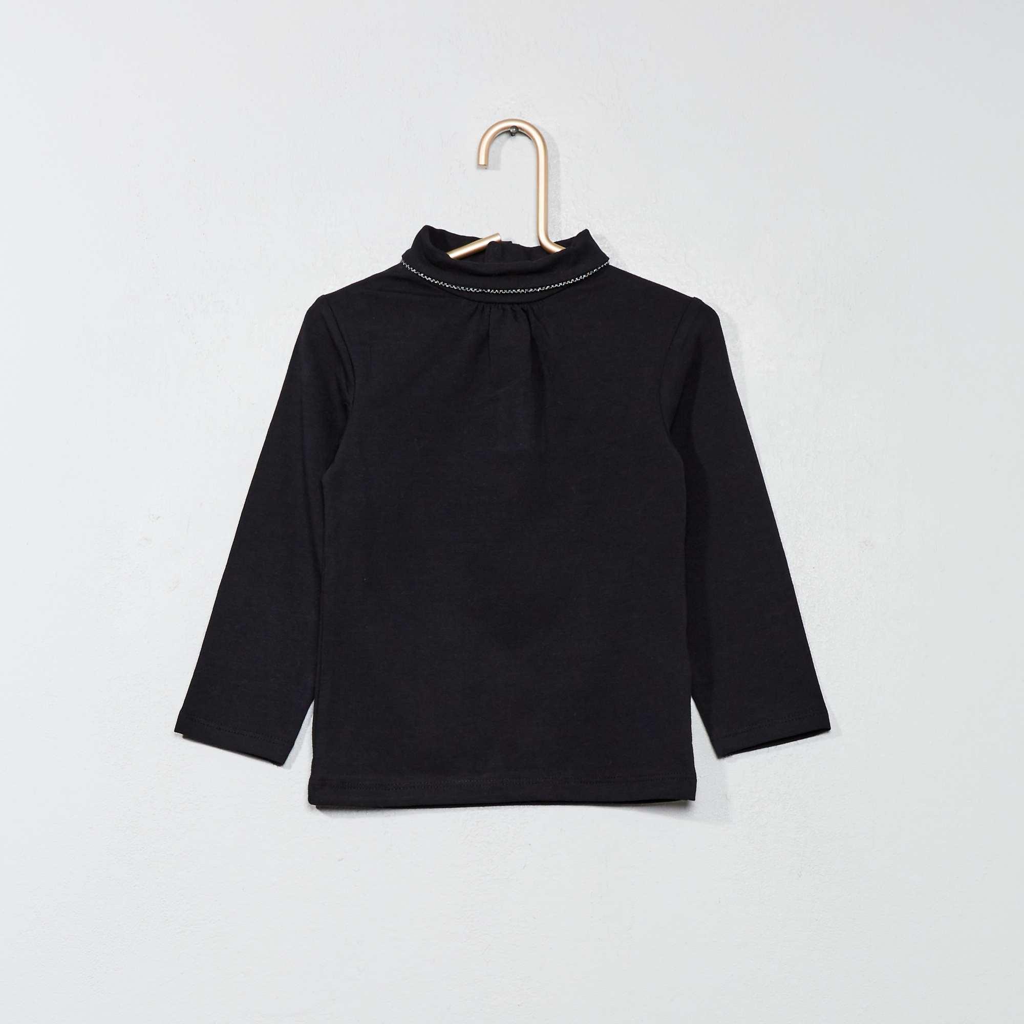 eeed79152 Camiseta lisa de cuello alto negro Bebé niña. Loading zoom