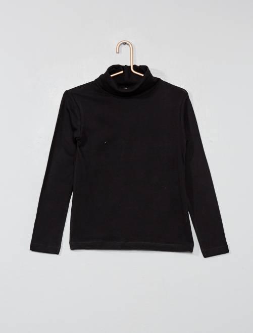 Camiseta lisa de cuello alto                                                     negro Chica
