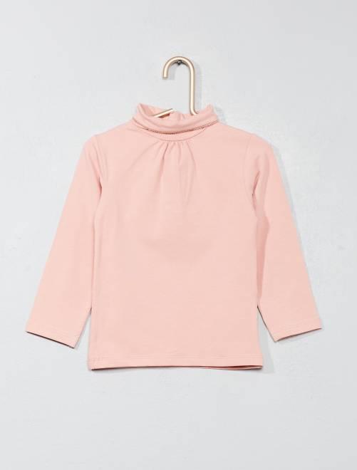 Camiseta lisa de cuello alto                                                                             rosa claro Bebé niña