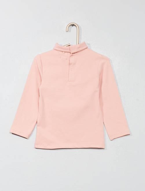 a8162eadf Camiseta lisa de cuello alto Bebé niña - ROSA - Kiabi - 4