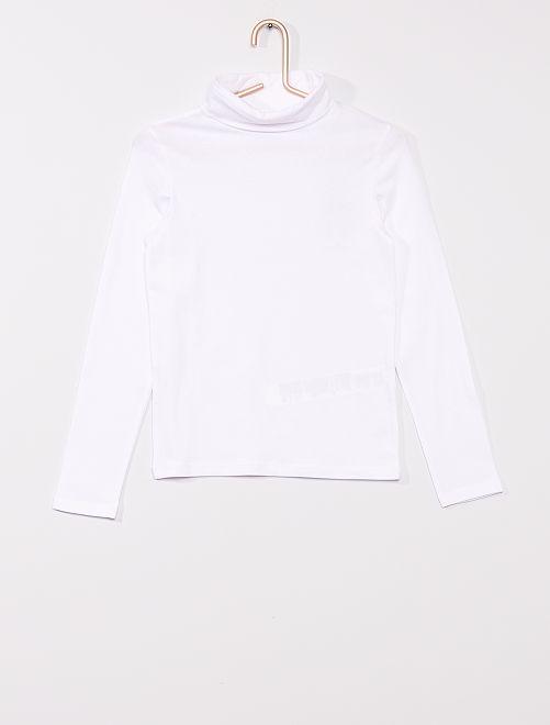 Camiseta lisa de cuello vuelto                                                                 blanco