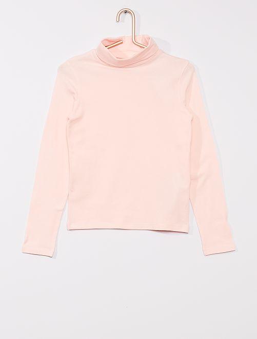 Camiseta lisa de cuello vuelto                                                                 rosa