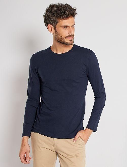 Camiseta lisa de manga larga                                                                 AZUL