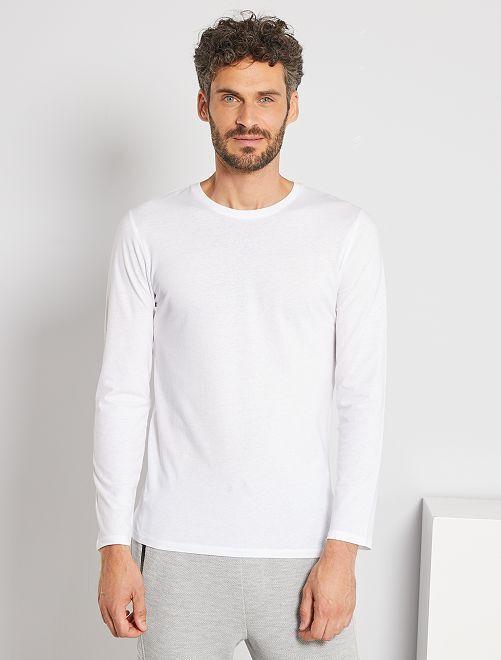 Camiseta lisa de manga larga                                                                                         blanco