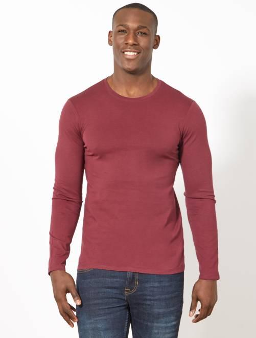 Camiseta lisa de manga larga                                                     burdeos oscuro Hombre