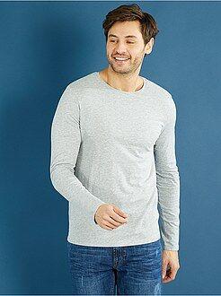 Hombre Camiseta lisa de manga larga