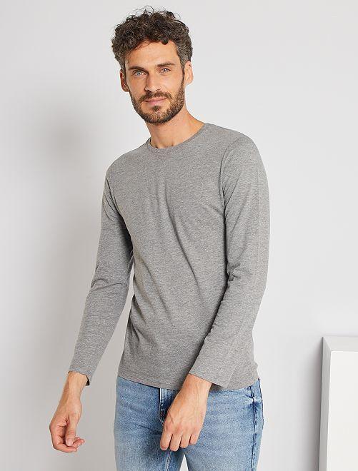 Camiseta lisa de manga larga                                                                             GRIS