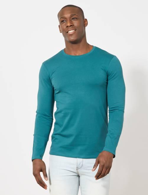 Camiseta lisa de manga larga                                         verde profundo Hombre