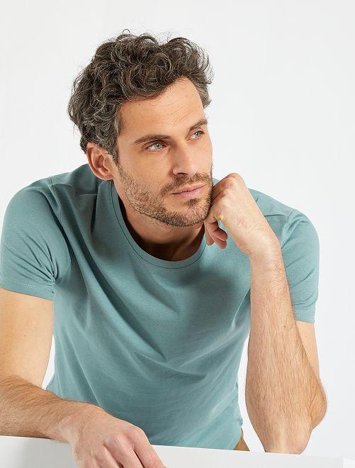 Camiseta lisa de punto                                                                                                                                         azul