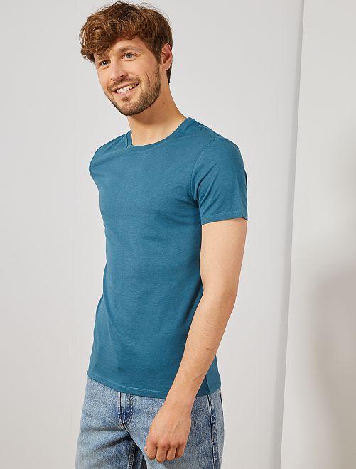 Camiseta lisa de punto                                                                                                                                                                             AZUL Hombre