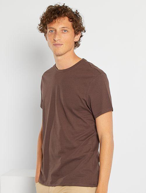 Camiseta lisa de punto                                                                                                                                                                 marrón oscuro