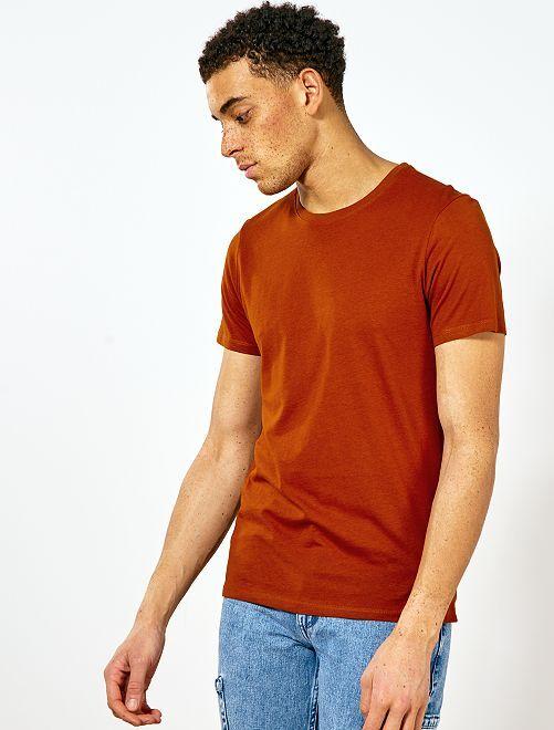 Camiseta lisa de punto                                                                                                                                                     NARANJA Hombre