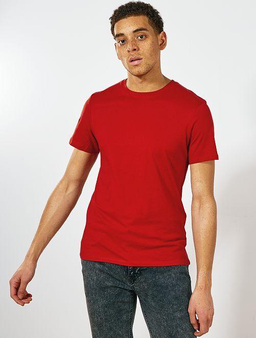29190e3c4 Camiseta lisa de punto Hombre - naranja ketchup - Kiabi - 3