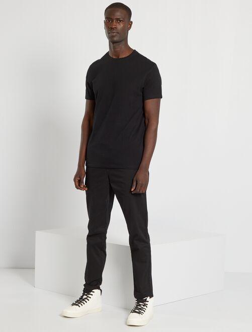 Camiseta lisa de punto                                                                                 negro