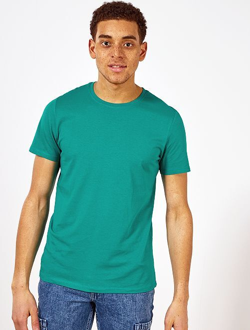 Camiseta lisa de punto                                                                                                                             VERDE Hombre