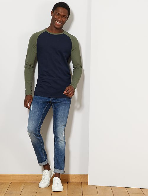 Camiseta manga larga algodón orgánico                                                     AZUL