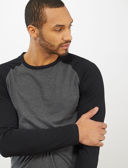 Camiseta manga larga algodón orgánico                                         GRIS