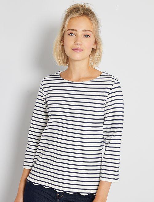 Camiseta marinera con acabado festoneado                                                                 BLANCO