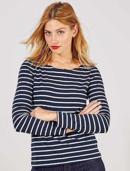 Camiseta marinera con cuello con muesca                                                     AZUL Mujer talla 34 a 48