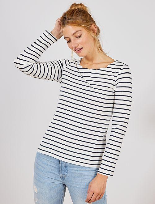 Camiseta marinera con cuello con muesca                                                     BLANCO Mujer talla 34 a 48