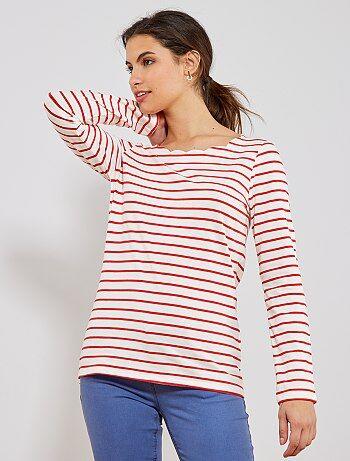 880599c095e Mujer talla 34 a 48 - Camiseta marinera con cuello con muesca - Kiabi