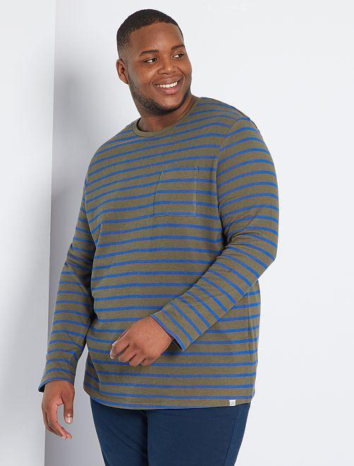 Camiseta marinera gruesa eco-concepción                                         a rayas caqui
