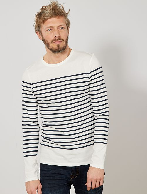 Camiseta marinera slim                                         BLANCO