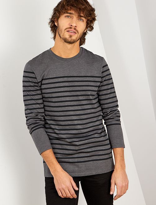 Camiseta marinera slim                                                     GRIS