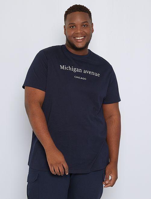 Camiseta mensaje estampado                                         AZUL