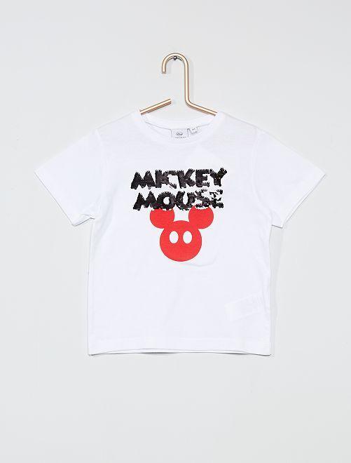 Camiseta 'Mickey' con lentejuelas reversibles                                         blanco