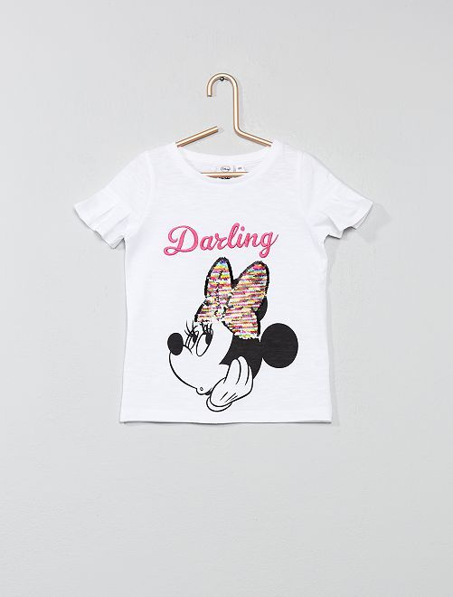 Camiseta 'Minnie' con lentejuelas                             blanco Chica
