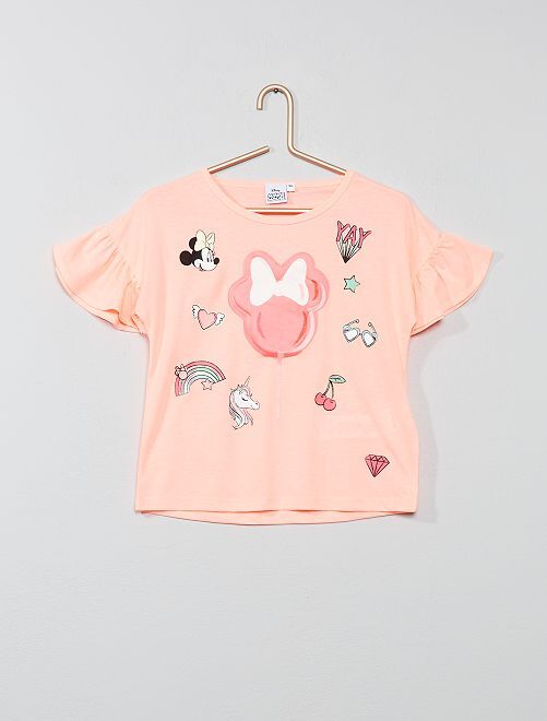 Camiseta 'Minnie' en relieve                             rosa intenso Chica