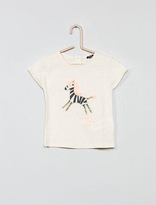 Camiseta moteada 'cebra'                             BLANCO Bebé niña