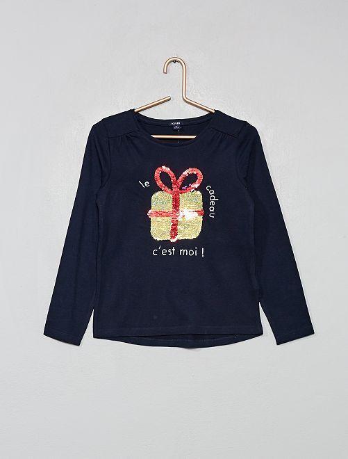 Camiseta 'Navidad' con lentejuelas reversibles                                         AZUL