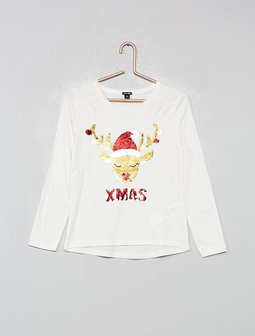 Camiseta 'Navidad' con lentejuelas reversibles                                         BLANCO