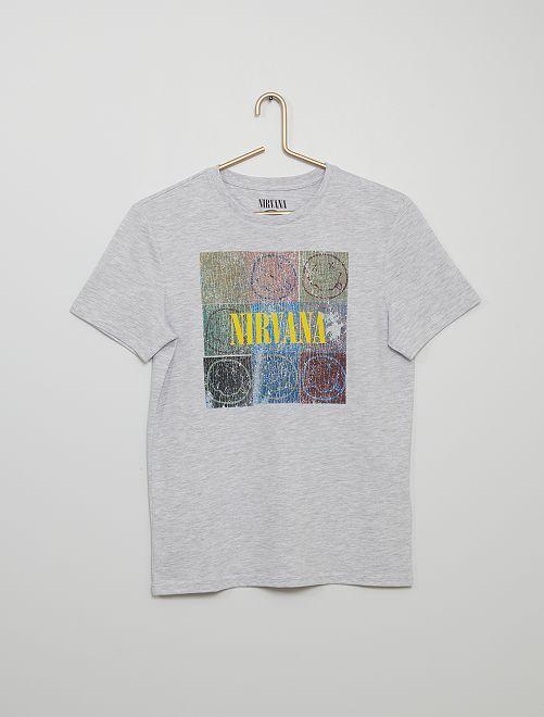 Camiseta 'Nirvana'                             gris chiné