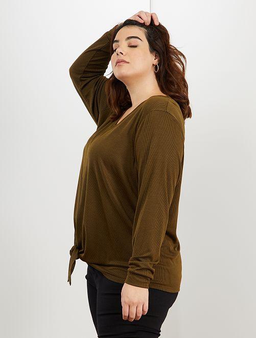 Camiseta nudo bajo vientre                                                                 castaño
