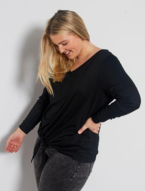 Camiseta nudo bajo vientre                                                                 negro