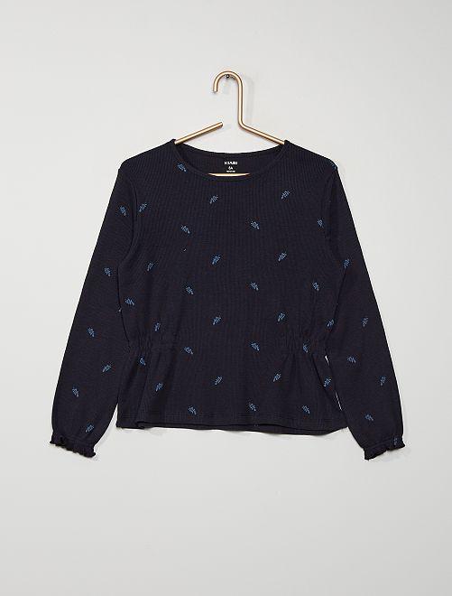 Camiseta ondulada con estampado de 'hojas'                                                     AZUL