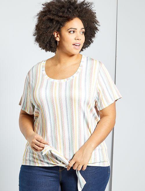 Camiseta oversize gofrada                                                                 BLANCO