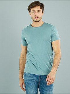 Camisetas azul - Camiseta 'OWK'de algodón con cuello redondo
