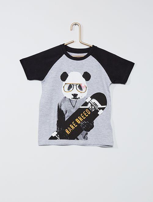 Camiseta 'panda' 'Minoti'                             gris/negro