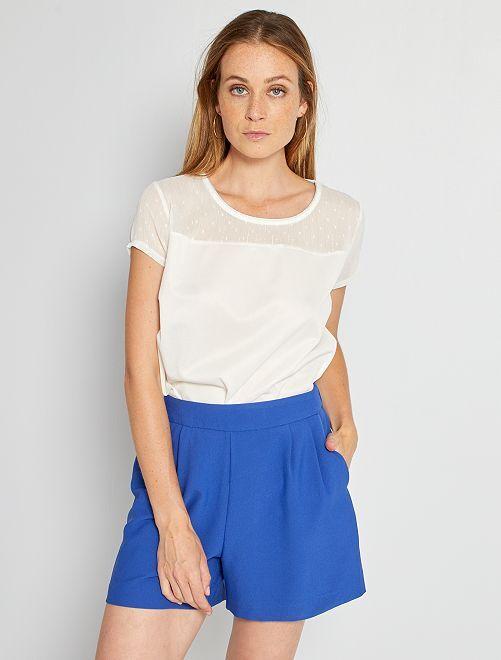 Camiseta parte superior de plumeti                             blanco