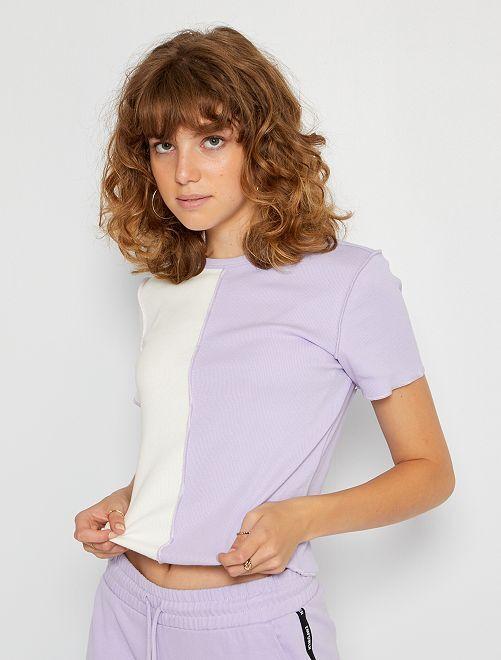 Camiseta patchwork bicolor                                         PURPURA